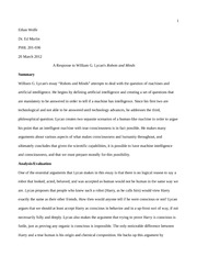 lycan robots and minds essay