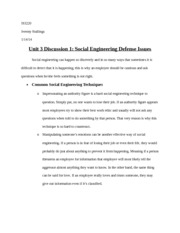Unit 3 Discussion 1 Social Engineering Defense Issues