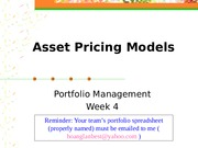 Lecture 4 - Asset Pricing Models