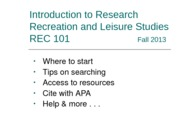 REC101Fall2013LibraryTutorial