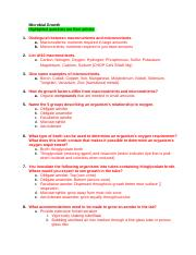 Microbial Growth Study Guide