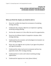 Chapter 3 Marketing Notes