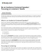 Be an Audience-Centered Speaker: Focusing on Listeners' Needs - Video & Lesson Transcript | Study.co