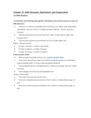 Biology 1000 Chapter 12 DNA Structure, Replication, and Organization