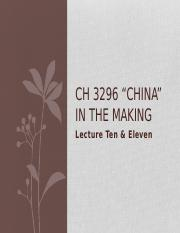 CH3296 Lecture 10 & 11