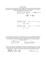 calculus 2 Partial Fractions