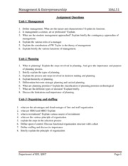 EEE-V-MANAGEMENT AND ENTREPRENEURSHIP [10AL51]-ASSIGNMENT