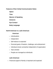 Features of Non Verbal Communication Notes