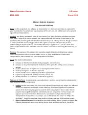 LITERARY ANALYSIS, ARGUMENT Instruction Sheet, NCC.docx