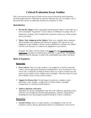 critical evaluation essay outline critical evaluation essay  2 pages critical evaluation essay outline
