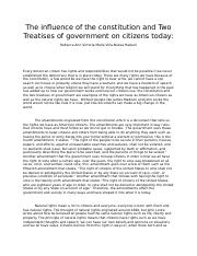 Citizenship And The Constitution Essay Rebeccaann Haskell   Citizenship And The Constitution Essay Rebeccaann Haskell Docx   The Influence Of The Constitution And Two Treatises Of Government On