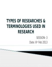 Terminologies in Research Methodologies