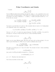 Polar Coordinates and Limits Notes
