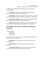 Intro. Psychology Module 1 Definitions What is Psychology