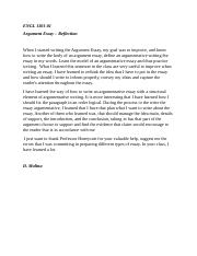 Argument Essay Reflection
