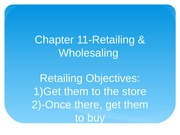 Chapter 11-Retailing