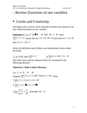 lecture #13. Ch.14.2. Limits and continuity.