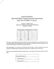ECE454 Fall Official Exam 2008