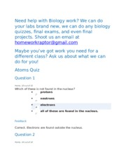 Mitosis Quiz-Retake - interphase Question 6 Select one answer 10 ...