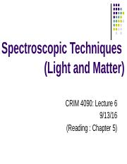 Lecture 6 - Light and Matter