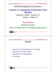 Lecture 14- Sampling of Discrete TIme Systems