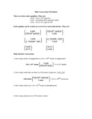 Mole Conversions Worksheet - Pre-AP chemistry summer assignment ...