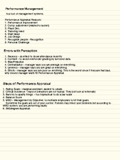 Notes - Performance Management