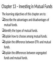 Chapter 13 – Investing in Mutual Funds