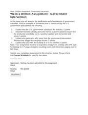 510 - Week 1 Written Assignment - Government Intervention - Guidelines