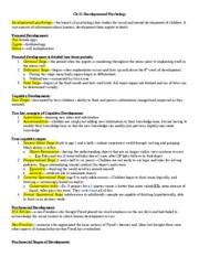 Psychology Notes Ch 15 Developmental Psychology