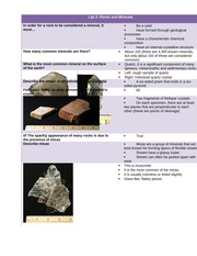 Geosci - Lab Two Notes (Rocks and Minerals)