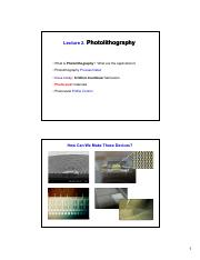Lecture 2 Photolithography