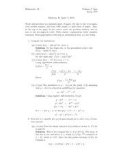 MATH 1A - Spring 2010 - Ogus - Midterm 2 (solution)