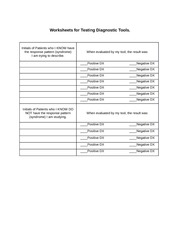 Worksheets for Testing Diagnostic Tools (1)