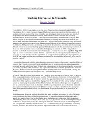 Curbing Corruption In Venezuela