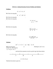 MTH 122 – Rational Functions Practice Problems and Solutions