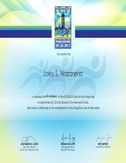 CERTIFICATE FOR RUN FOR THE PASIG RIVER