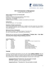 N11110_14-15 Module Outline Introduction to Management
