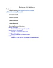 SOC 111 Midterm Study Guide Flake Winter 2014
