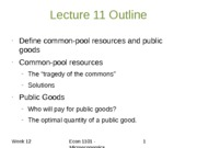 Lecture 11 Outline