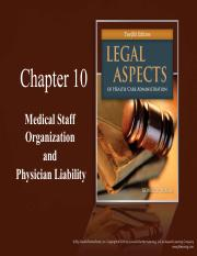 CH10 Medical Staff Organization and  Physician Liability