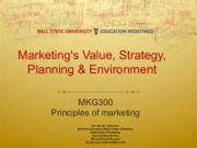 Marketing Value Strategy Planning & Environment