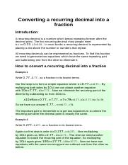 Converting a recurring decimal into a fraction.docx