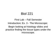 Fall First Lab - Microscopes