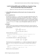 Lab4_FA14 - Solving Differential and Difference Equations Using MATLAB