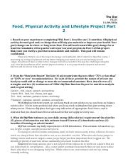 Food, Physical Activity and Lifestyle Project Part 2.docx