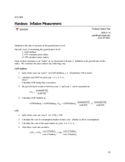 Lecture 3 Handout Inflation Measurement