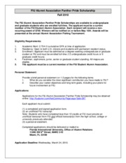 Panther Pride Scholarship Application 2010