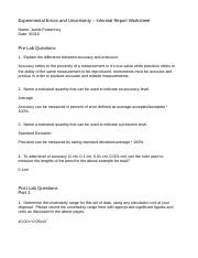 experimental errors and uncertainty physics lab report Guidelines for a physics lab reports a laboratory report has three main functions: (1) to provide a record of the experiments and raw data included in the report,  are the deviations due to error/uncertainty in the experimental method, or are they due to.