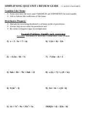 Simplifying Quiz Unit 2 Review Guide.doc